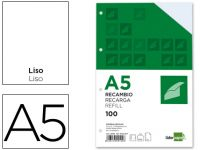 Recambio Liderpapel Din-a5 100 H Liso 6 Taladros Con Margen Papel 100