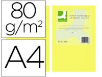 Papel Color Q-connect Din A4 80gr Amarillo Intenso Paquete De 500 Hoja